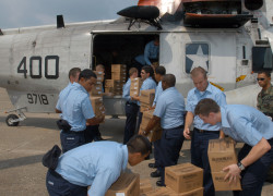 050901-N-0438-013 Pensacola, Fla. (Sep. 1, 2005) Ð Sailors stationed on board Naval Air Station Pensacola load supplies on a UH-3H helicopter before it is transported to New Orleans to aide in disaster relief efforts for the Hurricane Katrina victims. The Navy's involvement in the humanitarian assistance operations is led by the Federal Emergency Management Agency (FEMA), in conjunction with the Department of Defense. U.S Navy photo by Jerry Antone (RELEASED)